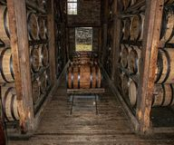 Whiskey di Bourbon che è barilotti immagazzinati della quercia immagine stock