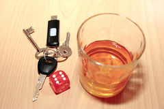Whiskey dice and keys Stock Photography