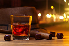 Whiskey and dice Royalty Free Stock Photos