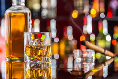 Whiskey drink on bar counter Royalty Free Stock Photo