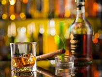 Whiskey drink with car key Royalty Free Stock Images