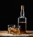 Whiskey drink on wood Royalty Free Stock Photo