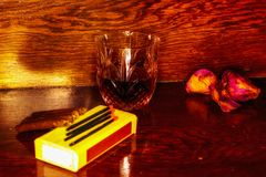Whiskey drink on wooden Royalty Free Stock Photos