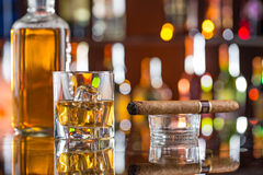 Whiskey drinks on bar counter. Stock Images