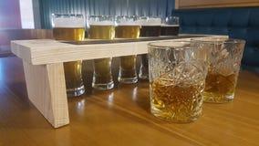 Whiskey e birra Fotografia Stock