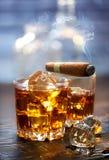 Whiskey e sigaro Fotografia Stock Libera da Diritti