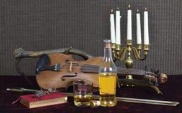 Whiskey e violino Fotografia Stock Libera da Diritti