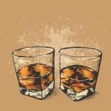 Whiskey en deux verres Photo libre de droits