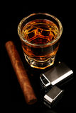 Whiskey et cigare Photos libres de droits