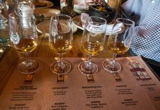 A Whiskey Flight at the High West Distillery in Park City stock photos