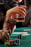 Whiskey and gambling Royalty Free Stock Photos