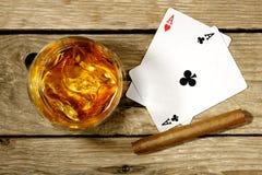 Whiskey and gambling Royalty Free Stock Photos