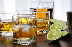 Whiskey with ginger ale and lime. Alcohol cocktail with brandy, whiskey or rum with Ginger Ale, lime and ice in glasses stock photos