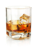 Whiskey glass. Isolated on white with reflection Stock Image