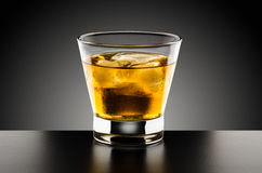 Whiskey glass. With ice cube in contre-jour Stock Images