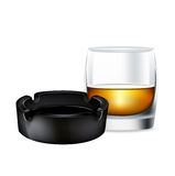 Whiskey glass and ashtray isolated Stock Photo