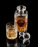 Whiskey Glass & Bottle. A glass and a bottle of whiskey Stock Images