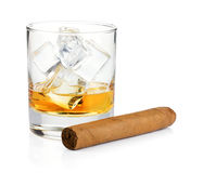 Whiskey glass and cigar. Isolated on white background Stock Images