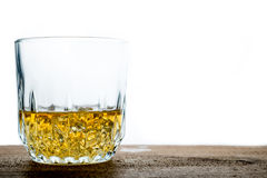 Whiskey glass with ice cubes Stock Photos