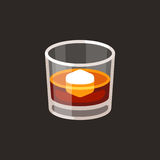Whiskey glass with ice. Whiskey on the rocks icon. Scotch brandy glass with ice cube, vector illustration in simple flat cartoon style Stock Photography