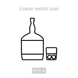 Whiskey and a glass. Linear  icon. Icon of the whiskey and a glass in a linear style Stock Photos