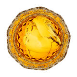 Whiskey. Glass of whiskey on the rocks, top view isolated on white Royalty Free Stock Photo