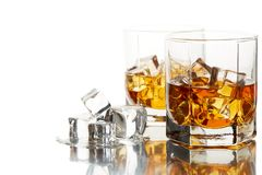 Whiskey glasses with ice. Stock Photography