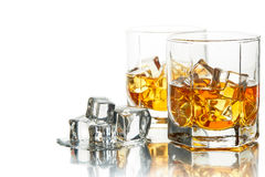 Whiskey glasses with ice. Stock Images