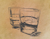 Whiskey in glasses on paper background. engraved. Whiskey in glasses , engraved style,hand drawing Royalty Free Stock Photos