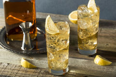 Whiskey Highball with Ginger Ale. And Lemons Royalty Free Stock Photography
