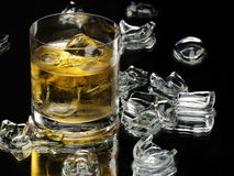 Whiskey and ice. Cubes on the black background Stock Photography
