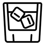 Whiskey ice cube glass icon, outline style stock illustration