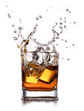 Whiskey with ice cubes Royalty Free Stock Image