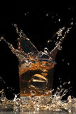 Whiskey with ice. Cubes in a glass Stock Image
