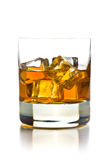 Whiskey with ice in glass. On white background Stock Photos