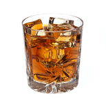 Whiskey with ice isolated Royalty Free Stock Photos