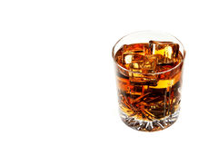 Whiskey with ice isolated Stock Photos