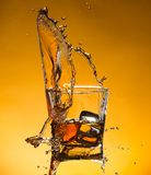 Whiskey with ice with liquid splash Royalty Free Stock Photos
