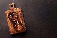 Whiskey with ice. Top view with copy space Royalty Free Stock Photo