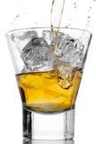 Whiskey and ice on white Stock Photo
