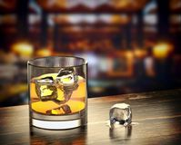 Whiskey with ice on a wooden background. 3d illustration Stock Photography
