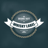Whiskey label design with decoration and ribbon Royalty Free Stock Photos