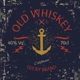 Whiskey Label Design. T-shirt Print. Vector Royalty Free Stock Photo