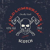 Whiskey Label Design. T-shirt Print. Vector Royalty Free Stock Images