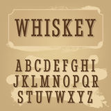 Whiskey label font. Vintage font. Stock Image