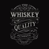 Whiskey label hand drawn vintage typography blackboard border Stock Image
