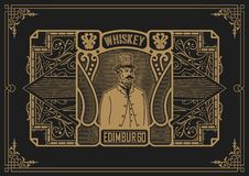 Whiskey label with old frames. Vector layered. Whiskey label with old frames Royalty Free Stock Photo