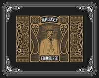 Whiskey label with old frames. Vector layered Royalty Free Stock Photography