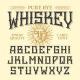 Whiskey label vintage font Stock Photos