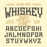 Whiskey label vintage font with sample design. Ideal for any design in vintage style Royalty Free Stock Image